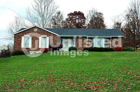 ranch house in autumn stock photos