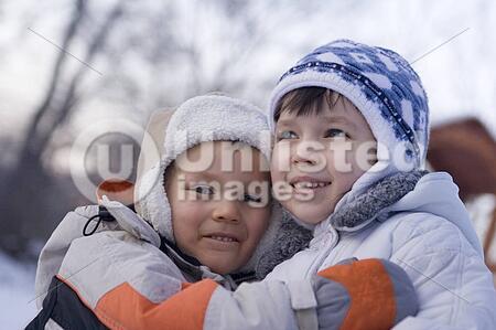 children in winter park