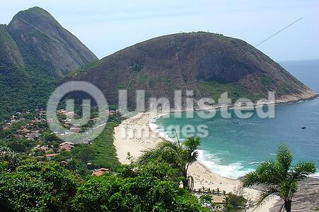Itacoatiara beach view from the top of the hill, in Niteroi, Brazil