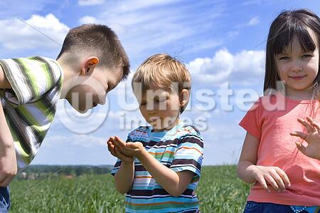 children on a meadow