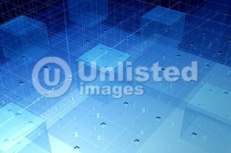 Dense transparent optical fibre connections in glass geometric environment - rendered hitech background
