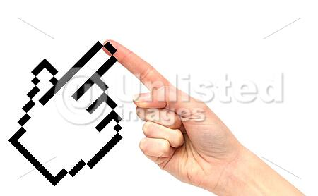 Human hand and a mouse pointer