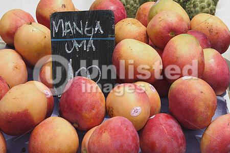 Mangos for sale in a street market in Rio de Janeiro, Brazil