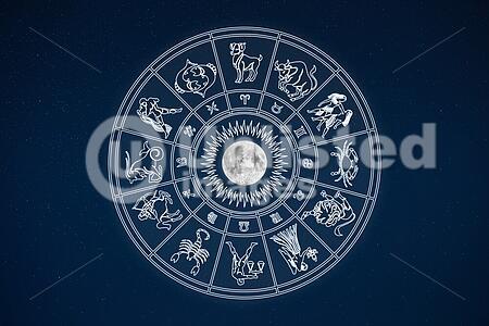 Horoscope Wheel Of Zodiac Signs In Dark Sky   Stock Photos