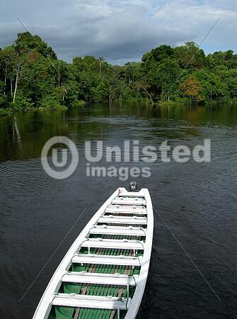 Boat on Rio , in the Amazonian rainforest, Brazil, South America