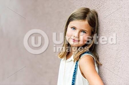 Close Up Portrait Of A Cute Little Girl Of 7 8 Years Old Leaning To