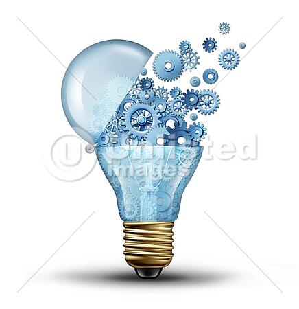 Creative technology and communication concept as an open door light bulb tranfering gears and cogs as a business metaphor for downloading or uploading innovation solutions.
