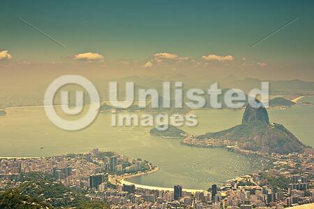 views Rio de Janeiro and Sugarloaf Mountain from Corcovado
