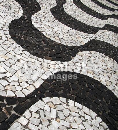 traditional sidewalk pattern in brazil with portuguese stones