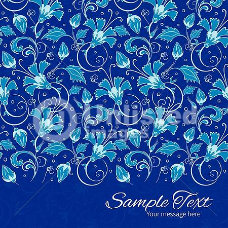 vector dark blue turkish floral horizontal border card template