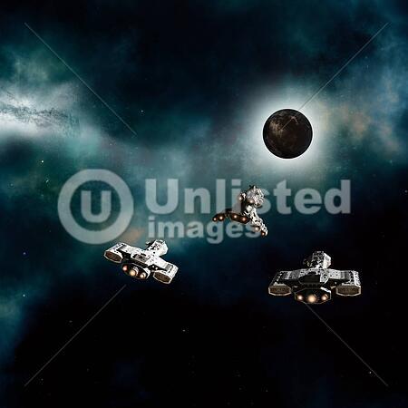 spaceships approaching dark planet stock photos