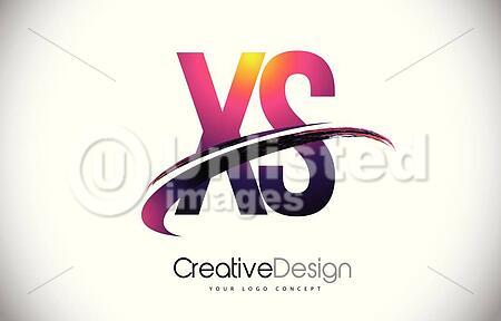 xs x s purple letter logo with swoosh design creative magenta