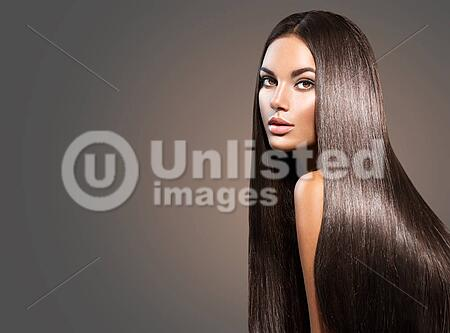 Beautiful Long Hair Beauty Woman With Straight Black Hair On Dark