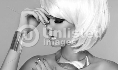 Fashion Blond Girl Beauty Portrait Woman Makeup White Short Hair