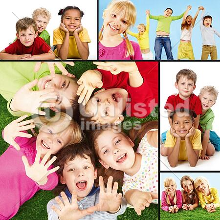 Collage of joyful children during their vacation
