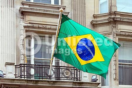 National Brazil flag at building