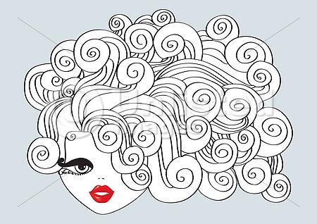 Nice Girl With Curly Hair And Red Mouth Vector Illustration Stock