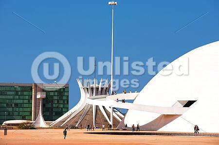 The National Museum and the cathedral of Brasilia city capital of Brazil UNESCO World Heritage site is an expression of the geniality of the architect Oscar Niemeye