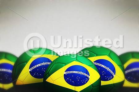 Soccer ball with Brazil flag on gray background, 3d render.