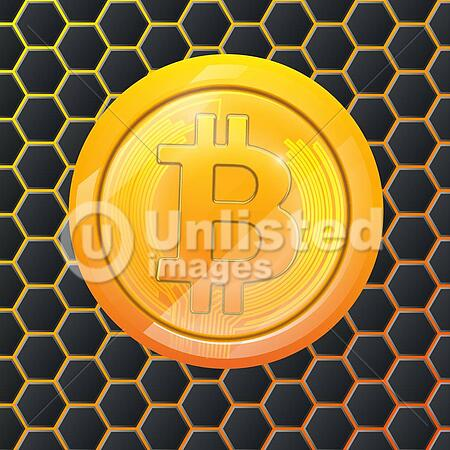Bitcoin Gold Coin Crypto Currency Hexagonal Background