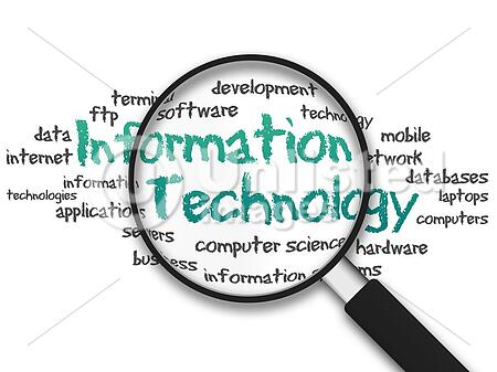 Magnifying Glass with information technology illustration on white background
