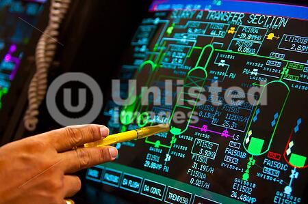 control panel in petrochemical plant