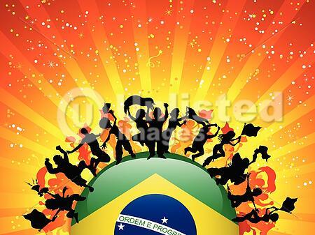 Vector - Brazil Sport Fan Crowd with Flag