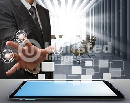 business man working on modern technology