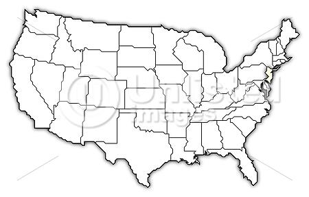 Map Of The United States, New Jersey Highlighted | Stock Photos