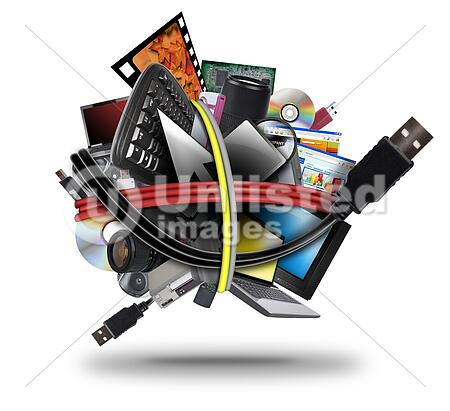 A ball of different electronic media devices ranging from a laptop to a television. A usb cord wire is wrapped around the gadgets on a white background.