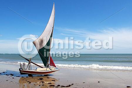 Jangada, a small fishing boat on the beach. Fortaleza, Brazil