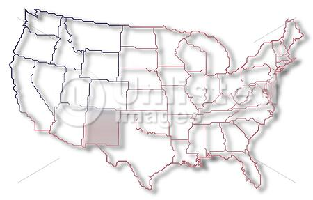 Map Of The United States, New Mexico Highlighted | Stock Photos