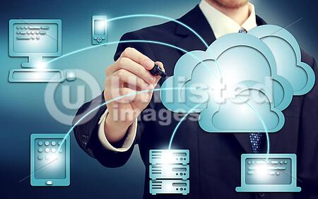 Businessman drawing cloud computing, technology connectivity concept