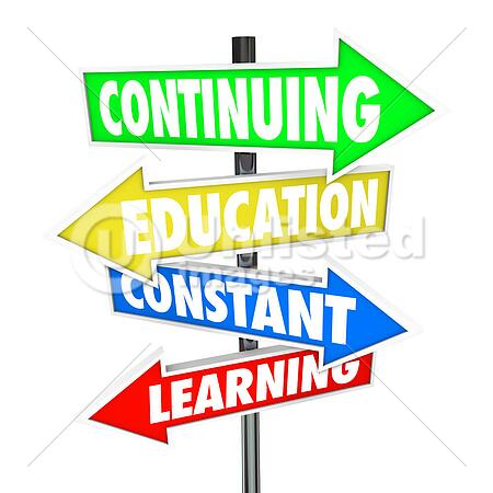 continuing education constant learning street signs stock photos