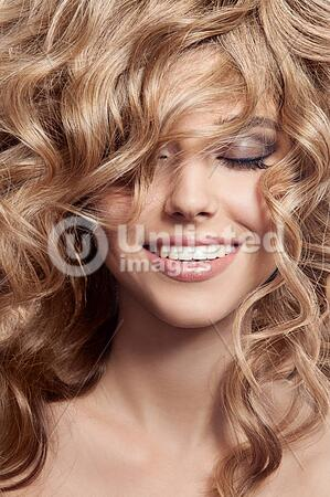 Beautiful Smiling Woman Healthy Long Curly Hair Latinstock