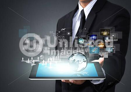 Touch screen tablet with new technology in male hand