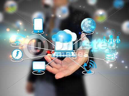 businessman holding Cloud computing, technology concept