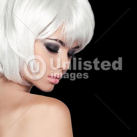 Fashion Beauty Portrait Woman White Short Hair Isolated On Black