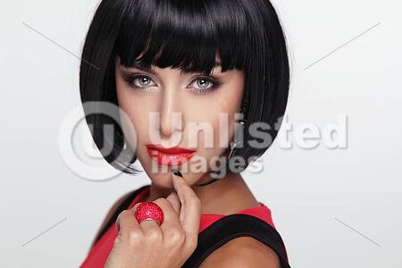 Sexy Beauty Brunette Woman With Red Lips Makeup Stylish Fringe