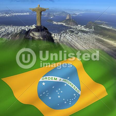 The city of Rio de Janeiro and the national flag of Brazil.