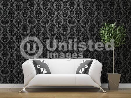 White Sofa On Black And Silver Wallpaper